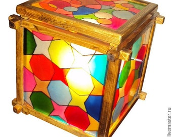 Stained glass lamp Colored Cubes
