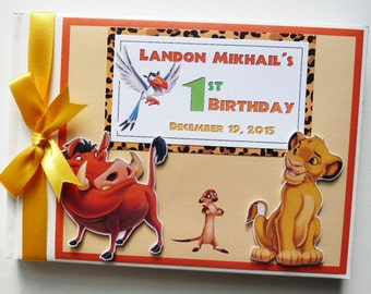 Personalised lion king boy girl first 1st birthday guest personalised lion king boy girl first 1st birthday guest book any design bookmarktalkfo Images
