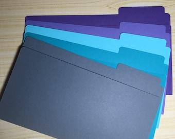 Mini Folders Sticker Storage Etc Solid Colors Purple Lavender Light Blue Teal Gray
