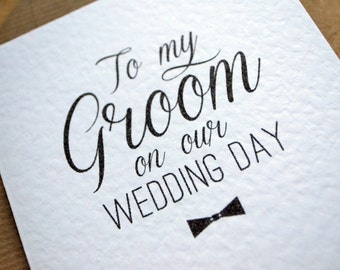 "Wedding Day Greetings Card - ""To My Groom on our Wedding Day"" On the Day Card with Kraft Envelope"