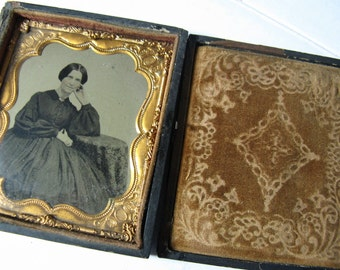 Vintage Tintype 1/6 Plate Woman sitting at a Table, Antique Photograph, 1860's Civil War era