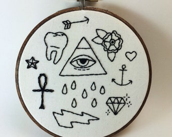 Stick and Poke Tattoo Embroidered Wall Hoop Black and White