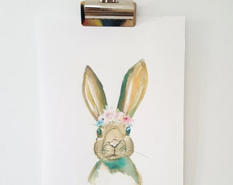 Rabbit with Flower Crown Watercolour print