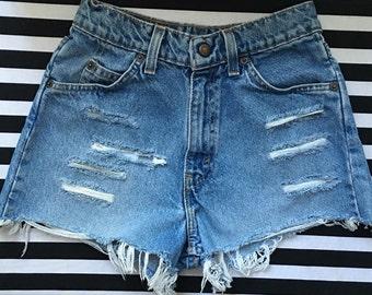 Vintage Levi Distressed Cut Off Shorts, Cut Off Denim Shorts