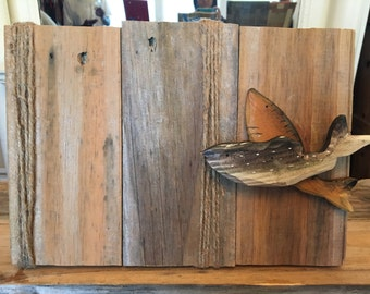 Reclaimed wood fish picture frame
