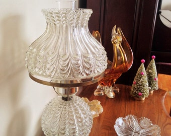 Vintage Hedco Cut Glass with Brass Electric Lamp