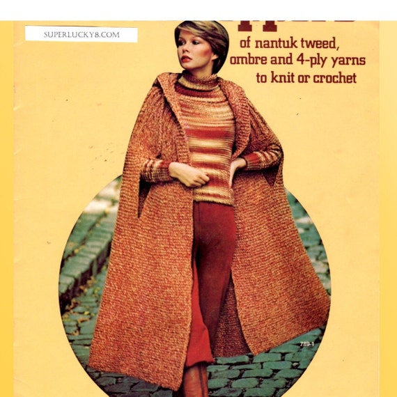 Knitting Pattern For Long Cape : vintage Long Cape Poncho PDF knitting pattern download