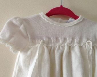 Vintage White Knit Baby Top - Size 3 months