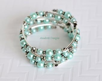 Aqua bracelet, Memory wire bracelet, Pearl bracelet, Beaded bracelet, Boho bracelet, Wrap bracelet, Multistrand bracelet, Pearl jewelry