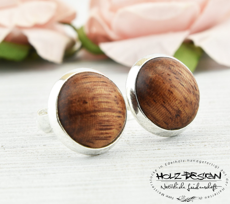 Ohrringe Aus Holz FUr Männer ~ Ohrstecker aus Holz Cabochon Ohrringe Afzelia von HolzDesignGermany