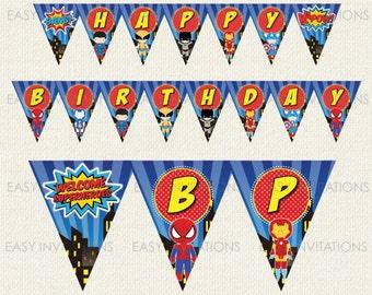 Superhero Birthday Banner, Superhero Birthday, Printable Birthday Banner, Birthday Flag, Superhero Flag, Superhero Bunting, Instant Download