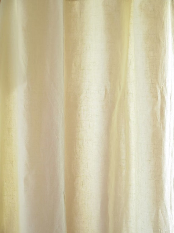 Pair Of Vintage Pure Linen Curtains Pale Yellow Each Panel