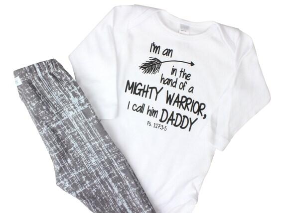 Mighty Warrior Arrow Onesie Scripture Inspired Bodysuit Psalm 127:3-5 Baby Scripture Shirt Arrow Daddy Shirt Bible Verse