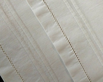 Vintage Victorian Linen Bolster Pillow Case Sham Open Ends Hem Stitching Tucks Accent