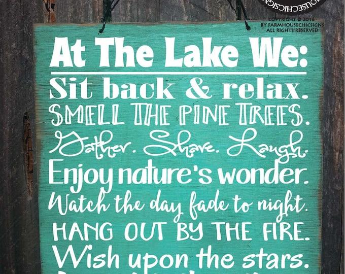 lake house, lake house decor, lake house sign, lake sign, lake house decorations, lake house wall decor, at the lake we, lake rules