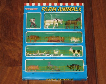 Vintage BLUE-BOX Farm Animals Set in Original Box (Plastic Toy Figures) made in Hong Kong