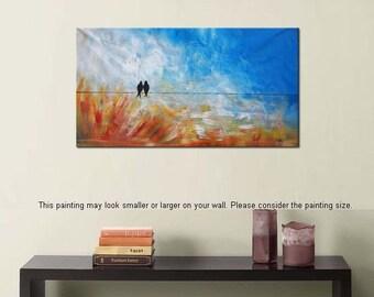 Love Birds Painting, Canvas Wall Art, Original Painting, Abstract Oil Painting, Wall Art, Canvas Wall Decor, Abstract Art, Modern Art C