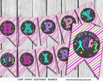 Jump Girls Banner, Bounce house Birthday banner, party banner, Trampoline Banner printable, Instant Download PDF