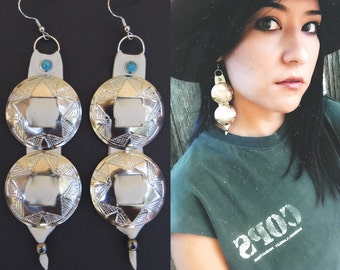 Concho earrings. Concho jewelry. Witchy woman. Silver conchos. Turquoise jewelry. Turquoise earrings. CONCHOS. Western jewelry. Turquoise