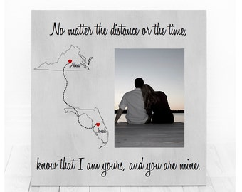 Long Distance Relationship Personalized Picture Frame state map Custom States Gift for long distance girlfriend fiance gift for boyfriend