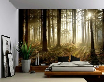 Sun Light Autumn Forest Trees - Large Wall Mural, Self-adhesive Vinyl Wallpaper, Peel & Stick fabric wall decal