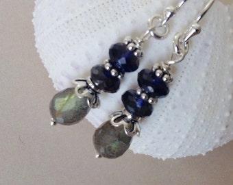 Labradorite Earrings, Iolite  earrings, sterling silver earrings, black gemstone, navy blue gemstone, natural gemstone