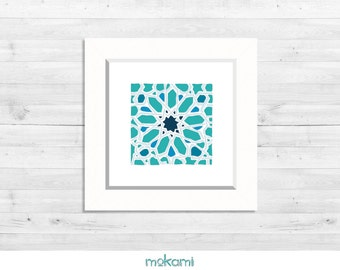 MOROCCAN paper print, STAR, MOSAIC, Moroccan Wall Decor, moroccan painting, moroccan ornaments, Housewarming gift, 8x8 Ready to hang