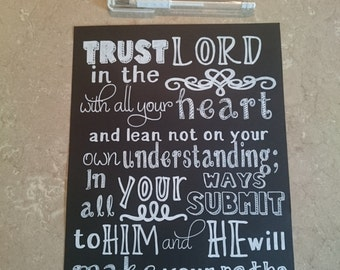 Trust in the Lord with All Your Heart - Proverbs 3:5&6 - Hand Drawn Chalkboard Style Verse - Scripture Art - Artwork ONLY