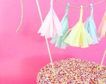 Customizable Tassel Topper - Cake Topper/ Cupcake Topper / Pie Topper / Dessert Topper
