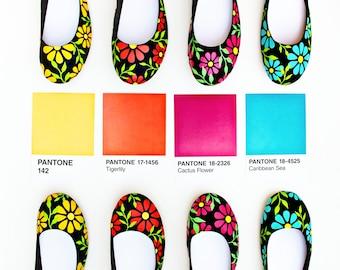 Ballet Flats, colorful shoes, jewel tones, fall fashion, colorful flowers, floral print, floral print shoes, womens shoes, black flats