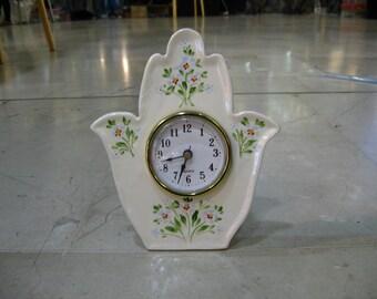 Hamsa clock, Table clock, Desk clock, White Ceramic clock, Shelf clock, Retro Clock, Vintage style Clock, Flowers decorated Ceramic, Hamsa