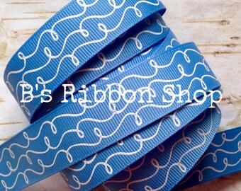 """7/8"""" White Glitter Doodles on Porcelain Blue USDR 1 yard grosgrain ribbon"""