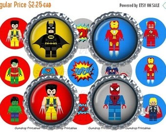 30%OFF Buy 3 Get 1 FREE Lego Superhero 1 Inch Circles Bottlecap Images ~ Instant Download ~ Super Hero Birthday Printable Image Sheet SH_135