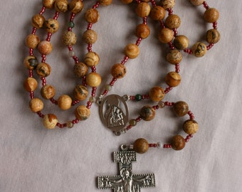 "Catholic Rosary San Damiano Crucifux Natural ""Landscape"" Stone Beads With Italian Silver Plated St. Francis Crucifix and Center"