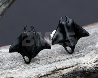 A Pair of The Giant Manta Ray Handcarved Earring Stud