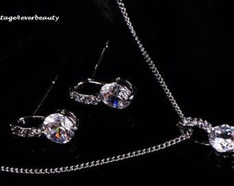 Bridal CZ Necklace Set / Bridesmaid Gifts / Wedding Jewelry