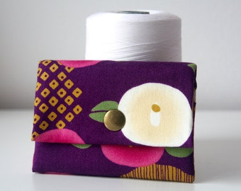 Elegant Purple Coquelicot Japanese Cotton Fabrics Handmade Card Holder Card wallet