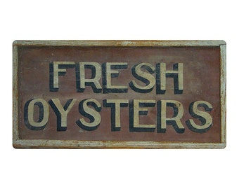 "Old Vintage Restaurant/Fish Market Sign- Fresh Oysters -  (Replica Metal) 6"" x 12"""