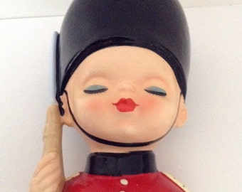 Vintage Toy Soldier Head Vase Planter by Inarco