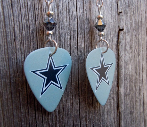 blue star cowboys guitar picks with silver crystals by itsyourpick. Black Bedroom Furniture Sets. Home Design Ideas