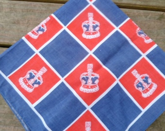 "Cute 60s vintage scarf, ""UK Crown"" red, white and blue"