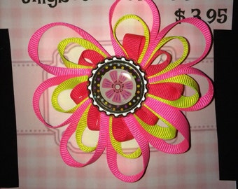 Hair clip Neon pink ribbon flower