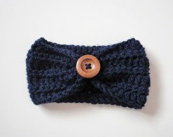 Handmade Crochet Baby Headband in Navy Blue Finished with a wooden button, Made to order, Many Colours Available, photo prop, Baby Showers