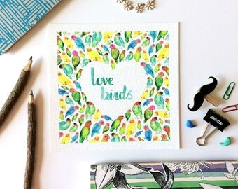Love birds Art Print, Modern, Cute Art Print, Art Print, Watercolour Art Print, Giclée Print, Fun Art Prints, Illustration, Brush Lettering,