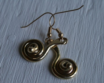 Spiral Earring- Hand Forged Bronze