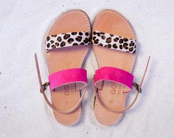 Aelia greek sandals / apostasy collection/ leopard pony skin and fuchsia/ handmade / two straps