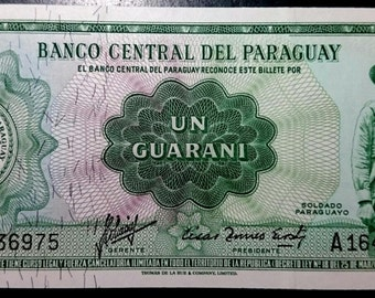 Vintage 1952 Uncirculated Banco Central Del Paraguay 1 Un Guarani  Banknote Very Crisp Antique  Banknote Currency