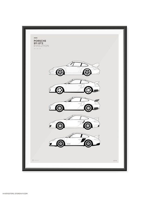 porsche 911 gt2 generations poster. Black Bedroom Furniture Sets. Home Design Ideas