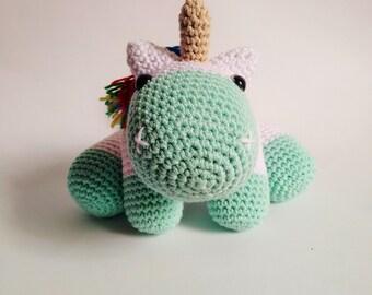 Amigurumi handmade crochet turquoise mint green colour unicorn - READY TO SHIP -