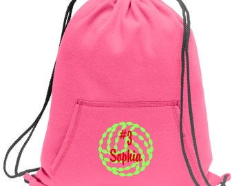 Sweatshirt material cinch bag with front pocket and embroidered spirit design - Volleyball1 - Multiple Colors - Camouflage - BG614